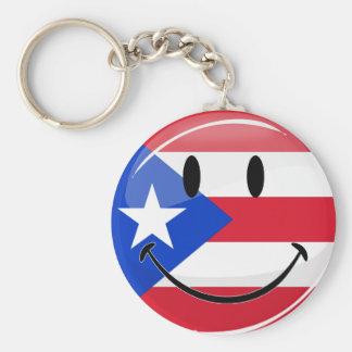 Lächelnde puertorikanische Flagge Schlüsselanhänger