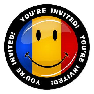 Lächelnde rumänische Flagge Quadratische 13,3 Cm Einladungskarte