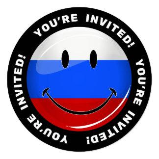 Lächelnde russische Flagge Quadratische 13,3 Cm Einladungskarte