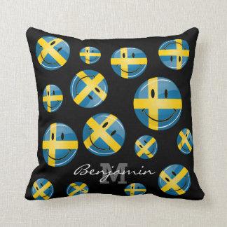 Lächelnde schwedische Flagge Kissen