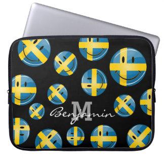 Lächelnde schwedische Flagge Laptopschutzhülle