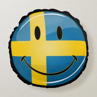 Lächelnde schwedische Flagge Rundes Kissen
