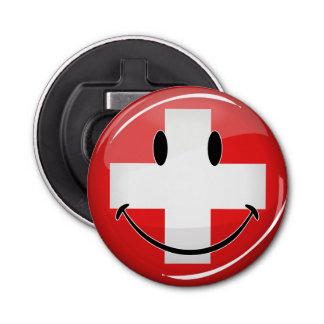 Lächelnde Schweizer Flagge Flaschenöffner