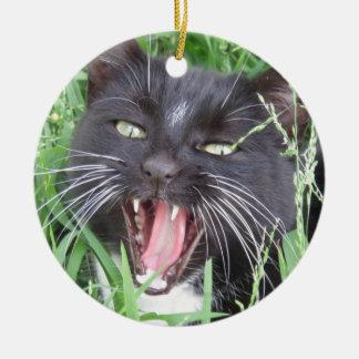 Lächelnde Smokings-Katze - Keramik Ornament