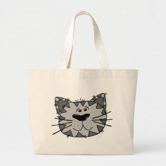 Lächelnde streunende Katze Jumbo Stoffbeutel