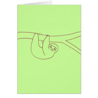 Lächelnde Trägheit, die von einem Baum hängt Karte