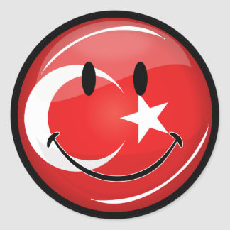 Lächelnde türkische Flagge Runder Aufkleber