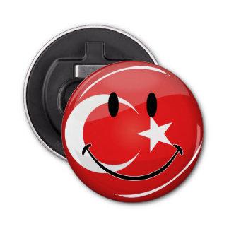 Lächelnde türkische Flagge Runder Flaschenöffner