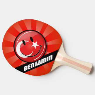 Lächelnde türkische Flagge Tischtennis Schläger