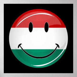 Lächelnde ungarische Flagge Poster