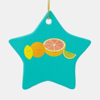 Lächelnde Zitrusfrucht Keramik Ornament