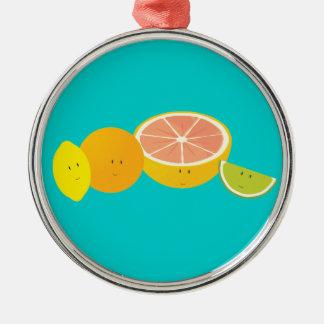 Lächelnde Zitrusfrucht Silbernes Ornament