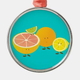 Lächelnde Zitrusfruchtgruppe Silbernes Ornament