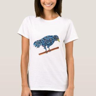 Lächelnder blauer Krähen-T - Shirt