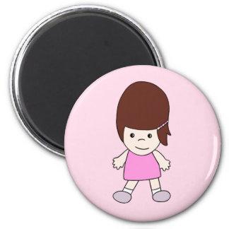 Lächelnder Cartoon-Mädchen Lesley Magnet Runder Magnet 5,1 Cm