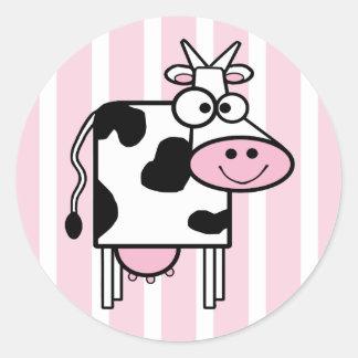 Lächelnder Kuh-Girly Tierdruck Runder Aufkleber