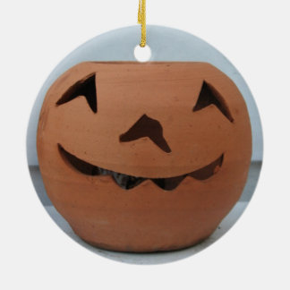 Lächelnder Kürbis Rundes Keramik Ornament