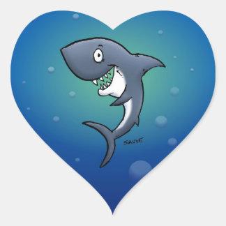 Lächelnder lustiger Haifisch auf blauem Herz-Aufkleber