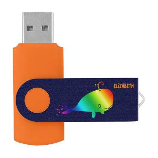 Lächelnder Regenbogen-Wal mit Blasen USB Stick