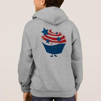 Lächelnder roter weißer und blauer kleiner Kuchen Hoodie