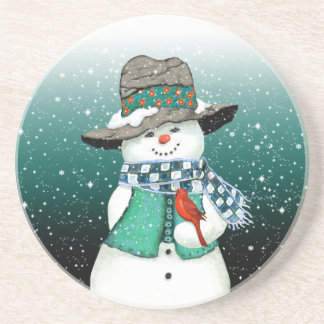 Lächelnder Snowman, Kardinal in einem Getränkeuntersetzer