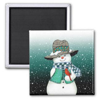 Lächelnder Snowman, Kardinal in einem Quadratischer Magnet