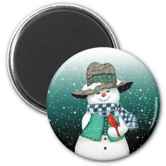 Lächelnder Snowman, Kardinal in einem Runder Magnet 5,1 Cm