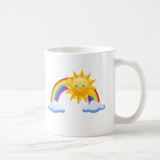 Lächelnder Sonnenschein-Regenbogen Kaffeetasse