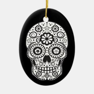 Lächelnder Zuckerschädel Keramik Ornament