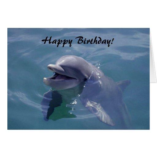 Lächelndes Delphin-alles Gute zum Geburtstag! Grußkarte