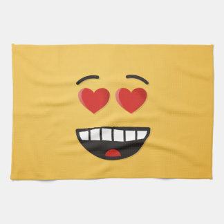 Lächelndes Gesicht mit Herz-Förmigen Augen Handtuch