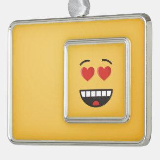 Lächelndes Gesicht mit Herz-Förmigen Augen Rahmen-Ornament Silber