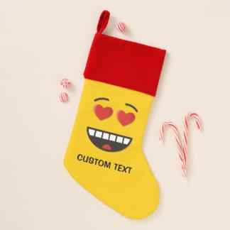 Lächelndes Gesicht mit Herz-Förmigen Augen Weihnachtsstrumpf