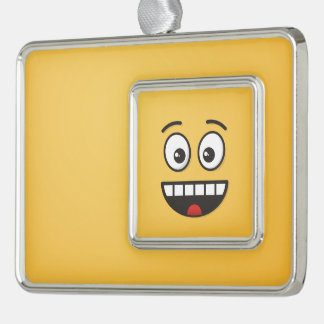 Lächelndes Gesicht mit offenem Mund Rahmen-Ornament Silber