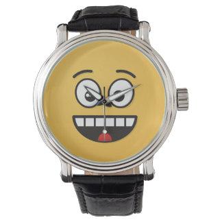 Lächelndes Gesicht mit offenem Mund Uhr