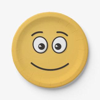 Lächelndes Gesicht mit offenen Augen Pappteller