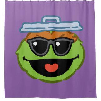 Lächelndes Gesicht Oscars mit Sonnenbrille Duschvorhang