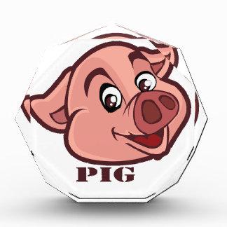 Lächelndes glückliches Schwein-Gesicht Acryl Auszeichnung