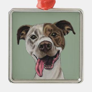 Lächelndes Gruben-Stier-Hundezeichnen Quadratisches Silberfarbenes Ornament