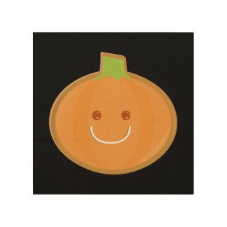 Lächelndes Halloween-Kürbisplätzchen Holzdruck