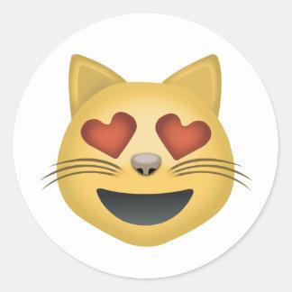 Lächelndes Katzen-Gesicht mit Herz-geformten Augen Runder Aufkleber