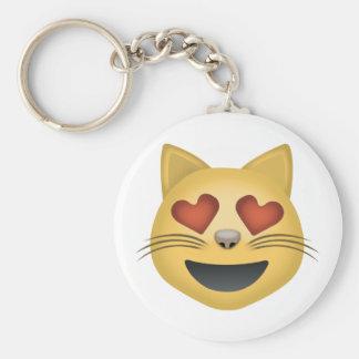 Lächelndes Katzen-Gesicht mit Herz-geformten Augen Schlüsselanhänger