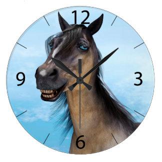 Lächelndes Pferd Große Wanduhr