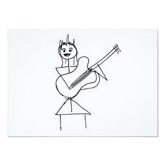 Lächelndes Strichmännchen-Mädchen, das Baß/Gitarre Personalisierte Einladungen