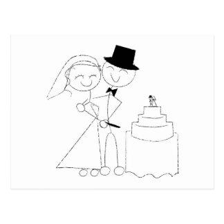 Lächelndes Strichmännchen-Paar schneidet den Postkarten