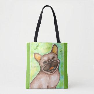 Lachende Grün-Tasche der französischen Bulldogge Tasche