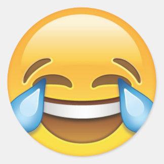Lachende schreiende Risse von Freude emoji Runder Aufkleber