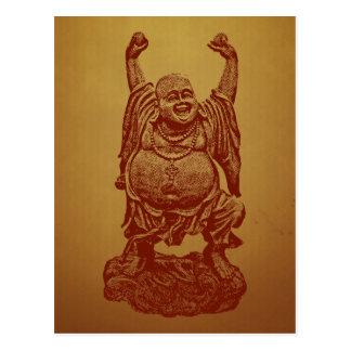 Lachender Buddha (dunkelrot) Postkarte