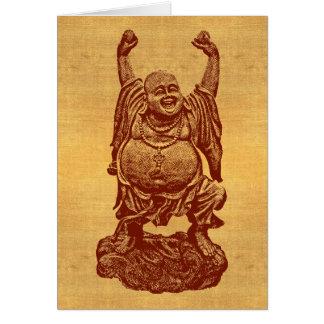 Lachender Buddha + Ihr Text! (dunkelrot auf Karte