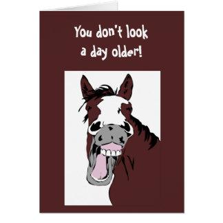 """Lachendes Pferd """"über dem Hügel"""" Geburtstags-Spaß Grußkarte"""